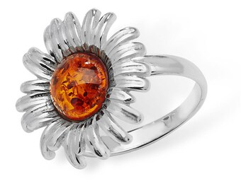 Eco friendly Silver Sunflower Amber Ring