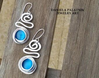 Turquoise Dangle Earrings, Wrap Stones Earrings, Statement Earrings, Gift For Her, Lightweight Earrings, Silver Earrings, Bridal Earrings.