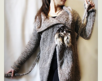 Chunky merino wool sweater gray