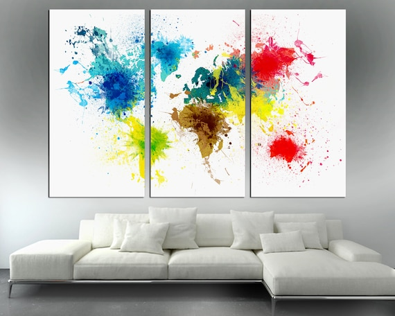 Colorful abstract art world map canvas print 3 panel split like this item gumiabroncs Gallery