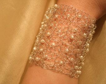 Cream Pearls and Sterling Silver Crochet Bridal Cuff, Wedding Handmade Jewelry.