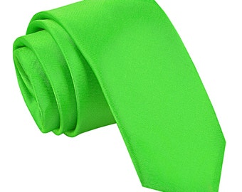 Satin Apple Green Skinny Tie