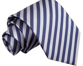 Thin Stripe Navy Blue & Silver Tie