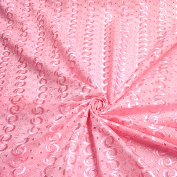 Pink eyelet spiral embroidery fabric