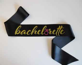 Bachelorette Sash - Black sash, Gold & Pink glitter