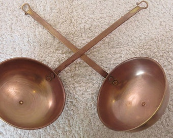 Pair of vintage French kitchenalia decorative hanging copper spoons/ ladles