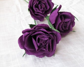 Purple paper rose, Crepe paper flower