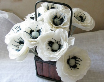 Paper flower, Ivory crepe paper poppies
