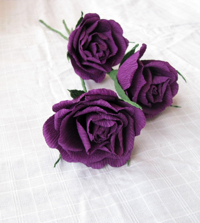 Purple paper rose Crepe paper flower