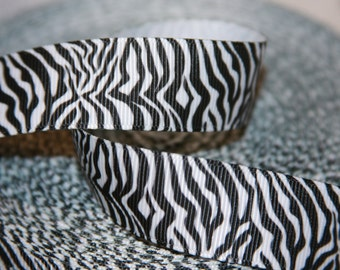 "black & white zig zag chevron w border grosgrain ribbon  7/8""  R221"