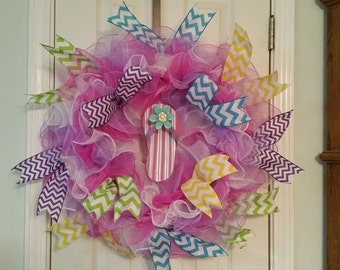 Spring wreath, summer wreath, flip flop wreath