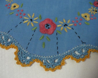 5 vintage blue hand embroidered doilies or placemats - 7 inches - HS-LI-009