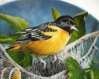 Vintage Baltimore Oriole bird plate - Bradford Exchange 1985 - 8-1/2 inches - Made in USA # HS-PL-18
