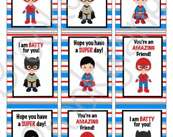 Superhero Valentine's Day Cards, Valentine's Day Cards, Instant download, Printable, Digital