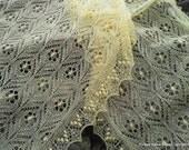 "Hand knitted Haapsalu shawl "" Immortal Flowers"", traditional Estonian lace, 100% merinowool. Ready to ship."
