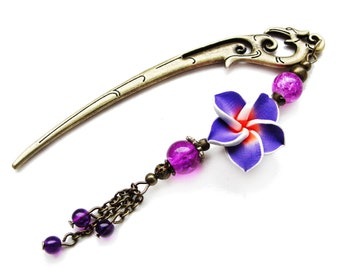Japanese hair stick with purple and orange polymer clay fimo flower, hairstick, hair pin, hairpin kanzashi - stick to choose - gift idea