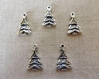 Xmas Tree Charms x 5. Christmas Charms. Tibetan Silver Tone. UK Seller