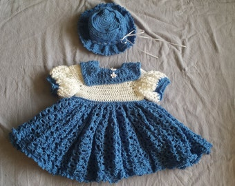 Crochet lace dress with matching hat ~ Blue