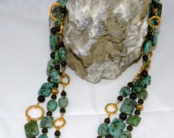 African Turquoise and Black Swarovski Pearl Multi-strand Necklace