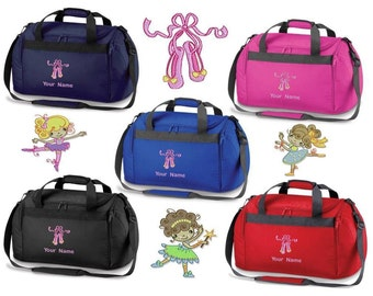 Personalised Embroidered Holdall  With Ballet Image- dance leotard shoes bag BC1 Personalized Dance Holdall