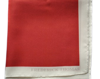 Frederick Thomas red pocket square with white edging FT1659