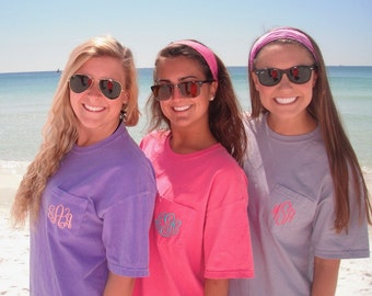 Monogram Pocket Tee - Comfort Colors tee - Monogrammed Pocket Tshirt - Personalized Embroidery - Comfort Colors