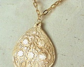 Hand Forged Bronze Persian Tree of Life Pendant on Gold Plated Chain