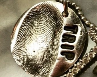 Fine silver thumbprint pendant or charm made from your loved ones thumbprint