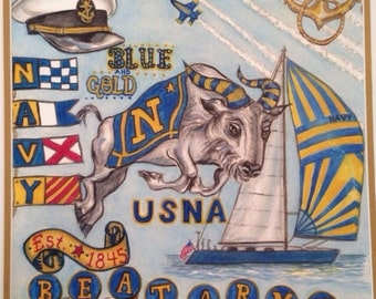 United States Naval Academy print. Print from a original watercolor fits in a 11x 14 mat