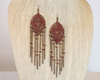 Long Chain Pendant Earrings