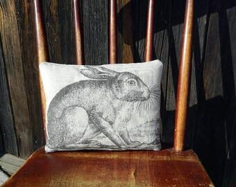 Primitive Vintage Bunny/ Rabbit Handmade Rustic Linen Pillow - Cupboard Tuck