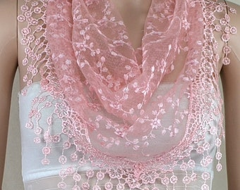 Pink bud silk scarf triangle, stereoscopic embroidery lace fringe scarf, shawl