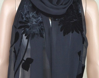 Black silk scarf, silk scarves, flowers flocking scarf, shawl
