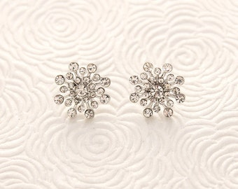 Snowflake Earrings, Bridal Earrings, Winter Wedding Earrings, Snowflake Bridal Jewelry, Rhinestone Snowflake Post Earring, Christmas Jewelry