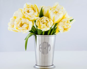 Monogram Mint Julep Cup Stainless Steel Cup Steel Flower Vase Metal Vase Custom Wedding Gift Engraved Cup Monogram Vase Minimalist Décor