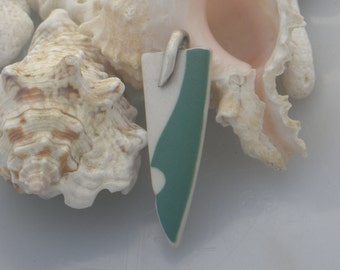 Sea Pottery Pendant, sterling silver.
