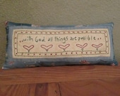Hand Embroidered Decorative Pillow with Inspirational Verse