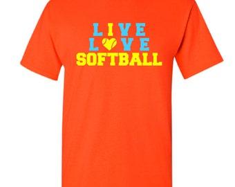 Live Love Softball T-shirt - I Love Softball T-Shirt - Softball T-shirt