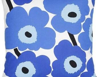 """Marimekko Blue White Pieni Unikko pillow case, many sizes"""", Maija Isola design, Finland"""