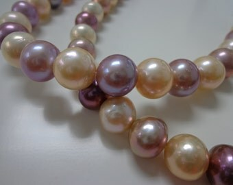 11-14mm Multi/Pink and Purple Round Nucleated Fresh Water Pearl Necklace Strands