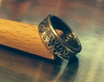 Handcrafted Silver Latvia Coin Ring - Sizes 5-12