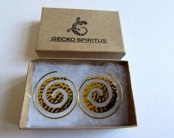 Spiral Brass Dotted Earrings handmade, Tribal Earrings, Nickel Free, Indian Jewellery, Gift boxed,Free UK postage BG7