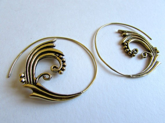 Spiral Brass Earrings handmade, Tribal Earrings, Nickel Free, Indian Jewellery, Gift boxed,Free UK postage BG8