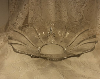 Fostoria Etched Glass Centerpiece Bowl Navarre Pattern