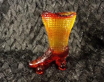 Degenhart Amberina Glass Skate Boot Shoe Toothpick Holder
