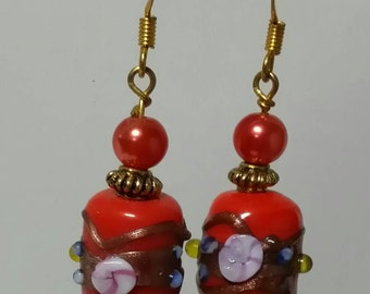 Red lampwork drop earrings