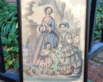 Framed 1850's French Fashion Illustration Old Print