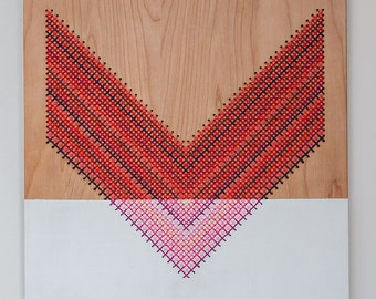 "Chevron Wall Hanging, Cross Stitch, Laser Cut Wood Panel, 12"" by 12"", Color Blocked Reds and Pinks"