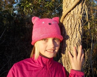 Hot Pink Knitted Kitty-Cat Hat