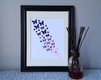 """Butterfly Paper Wall Art - Ombre Purple Palette, 10"""" x 13"""""""